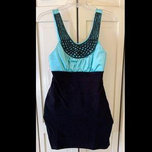Teal/black dress